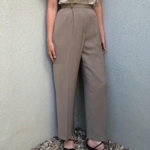 [vintage] high waist taupe patterned trousers